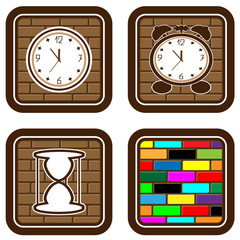 Brick web buttons with icons of time