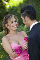 Teenage Girl Pinning Boutonniere on Date