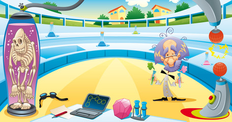 Mad scientist in the laboratory. Vector illustration.