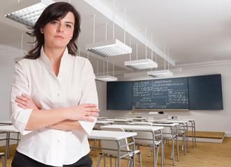 Attractive teacher in classroom