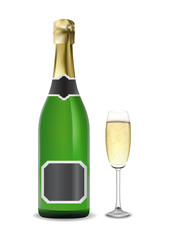 Bottle and glass of champagne. Vector.