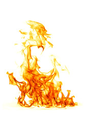 Poster Flamme Fire flame isolated on white backgound..