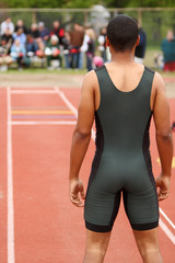 Male athlete about to do the longjump.
