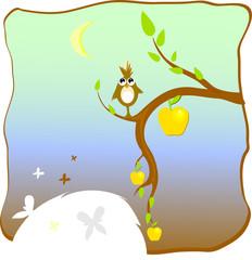 apple-tree with bird