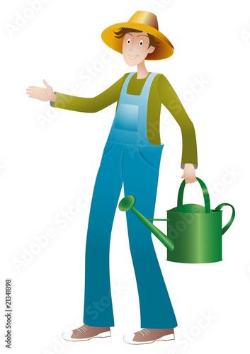 jardinier qui porte un arrosoir vert photo libre de droits sur la banque d 39 images. Black Bedroom Furniture Sets. Home Design Ideas
