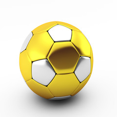 3d render of gold and silver soccer ball