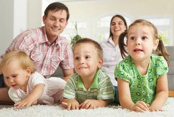 Happy children with parents