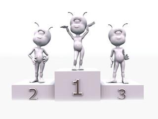 Siegertreppchen mit 3D Figuren