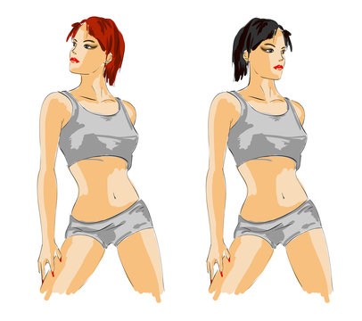 Woman fashion illustration.Vector sketch of the sports girl
