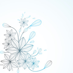 Background  with abstract   flowers . Vector illustration