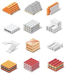 Foto op Canvas Boho Stijl Vector building products icons. Part 1. Concrete elements