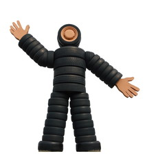 Isolated figure of an automobile tyres man on a white background