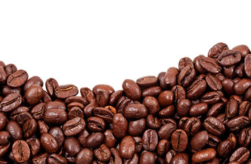 Roasted coffee beans with copy space on the top