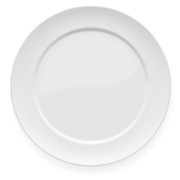 Empty white dinner plate isolated on white.