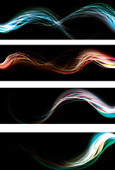 Blurry abstract neon light effect web banners. AI10 transparency