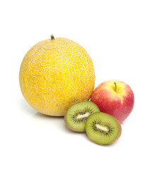 fresh healthy fruits over white background