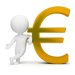 3d small people - euro sign