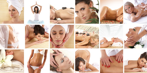 Collage of different spa treatment images with women