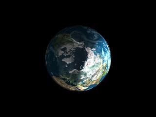 Earth model. Polus view.