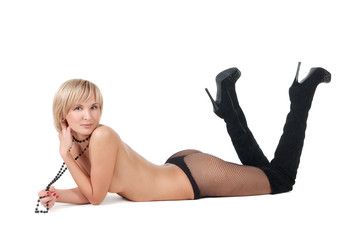 naked blond woman lying on floor .