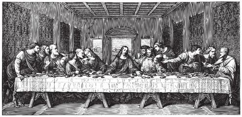Leonardo's Last Supper engraving (vector)
