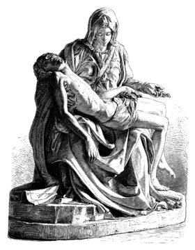 Michelangelo's Pieta antique engraving (vector)