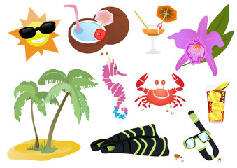 Vector illustration of beautiful summer icons and symbols
