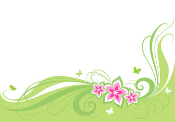 background with flowers, butterflies and green elements