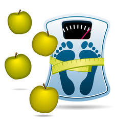 Blue bathroom scale with apples for diet concept