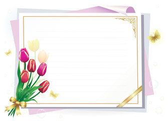 Blank paper with floral ornament