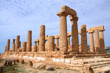 Ancient ruin in Agrigento, Italy. Greek temple.