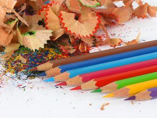 Pencils in an environment shavings