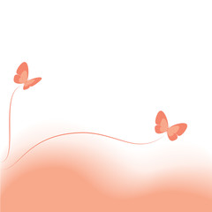 Vector pink background with butterflies