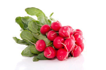 a bunch of red healthy radish isolated over white