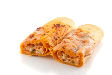 two tastful wraps with stuffing isolated over white