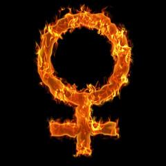 Burning woman symbol