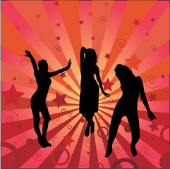 Three silhouettes girl on an abstract background