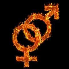 Burning symbol of man and woman