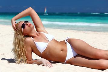 Young female enjoying sunny day
