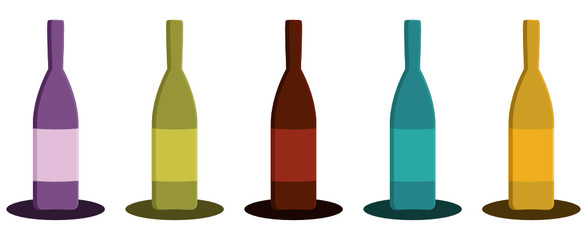 set of wine bottles for restaurant decor