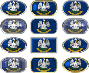 12 buttons of the Flag of Louisiana