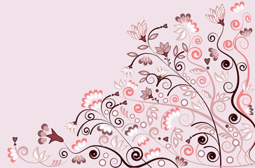 Ornamental vector pattern design with flowers in pink and white