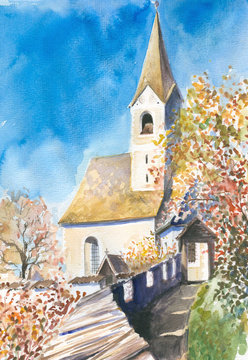 Church watercolor painted.