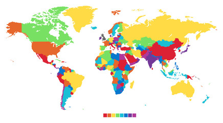 Poster Carte du monde Worldmap in rainbow colors