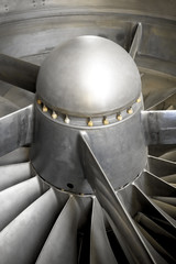 Fototapete - close-up of the blades of a jet engine turbine