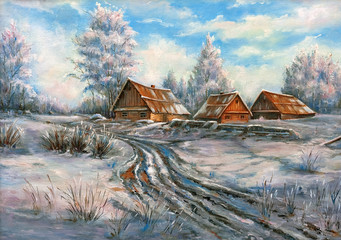 The winter rural landscape drawn by oil on a canvas