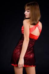 Posing Girl in red dress