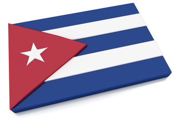 3D Cuba Flag Button