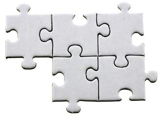 cinq pièces de puzzle; fond blanc