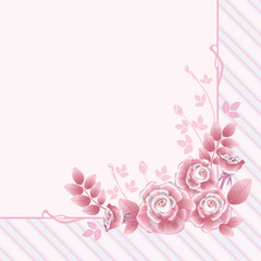 Floral greeting card with pink roses